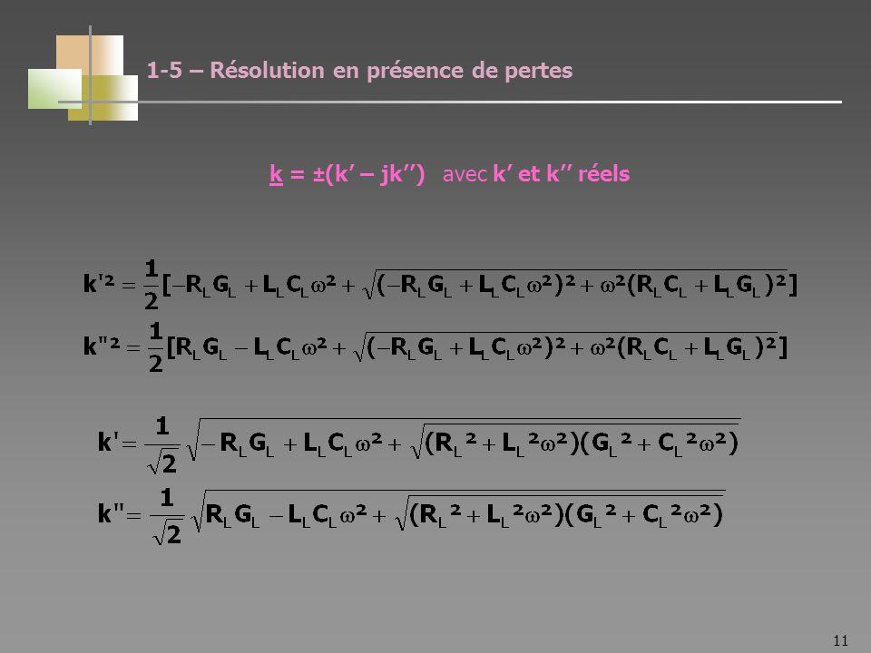 11 k = ±(k – jk) avec k et k réels 1-5 – Résolution en présence de pertes