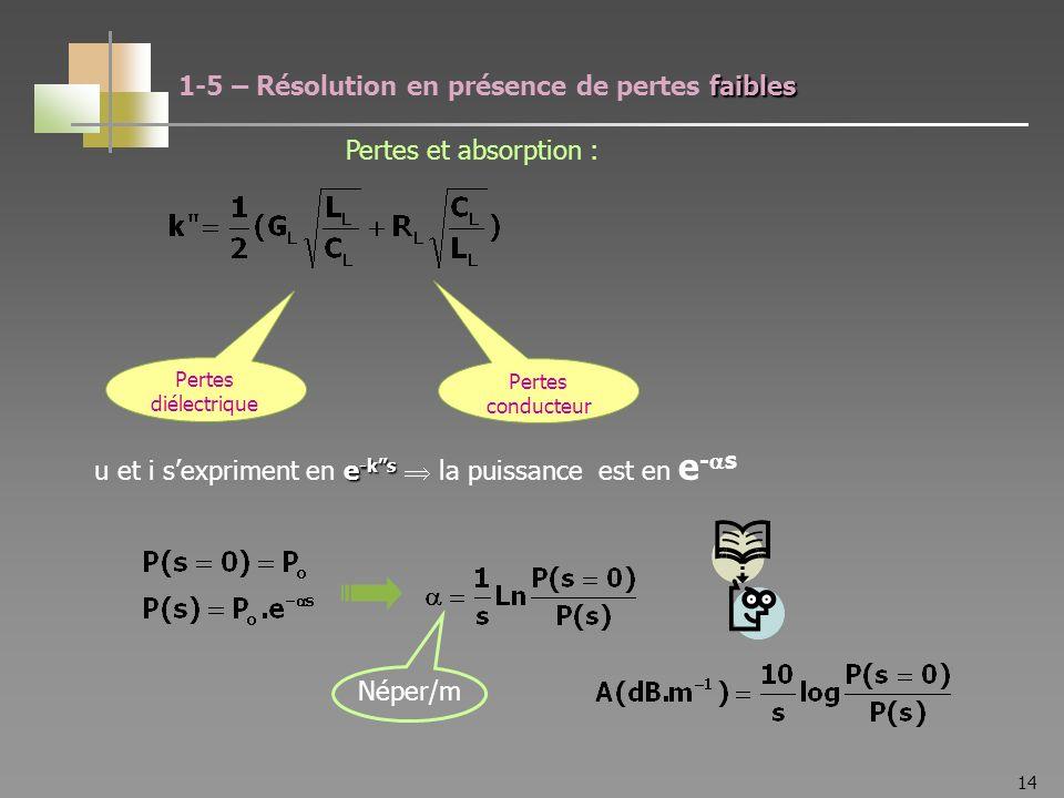 14 Pertes diélectrique Pertes conducteur e -ks u et i sexpriment en e -ks la puissance est en e - s Néper/m faibles 1-5 – Résolution en présence de pertes faibles Pertes et absorption :