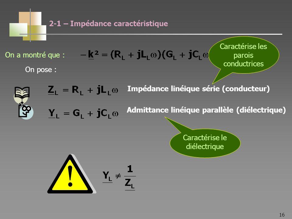 16 On pose : Impédance linéique série (conducteur) Admittance linéique parallèle (diélectrique) 2-1 – Impédance caractéristique Caractérise les parois