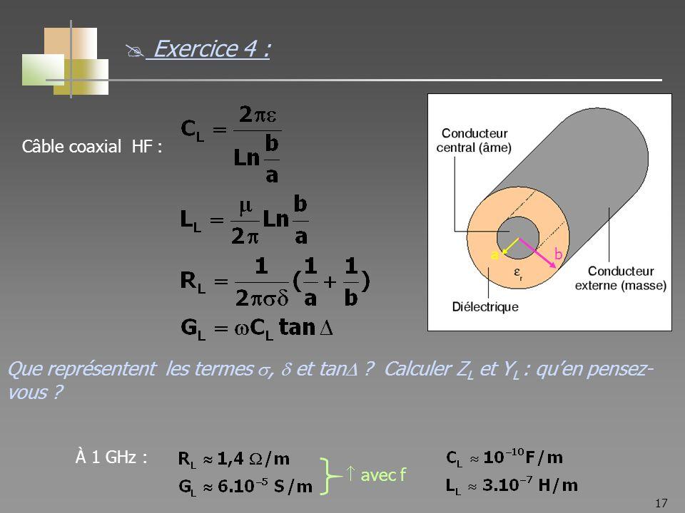 17 Câble coaxial HF : À 1 GHz : avec f ab Que représentent les termes, et tan ? Calculer Z L et Y L : quen pensez- vous ? Exercice 4 :