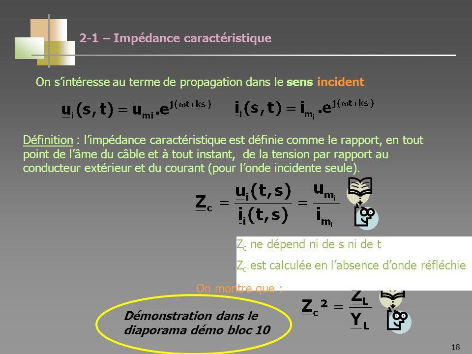 18 2-1 – Impédance caractéristique Définition : limpédance caractéristique est définie comme le rapport, en tout point de lâme du câble et à tout instant, de la tension par rapport au conducteur extérieur et du courant (pour londe incidente seule).