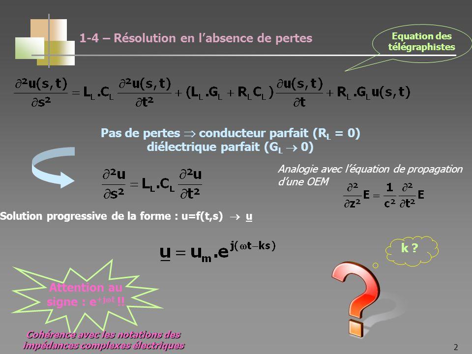 2 Pas de pertes conducteur parfait (R L = 0) diélectrique parfait (G L 0) Analogie avec léquation de propagation dune OEM Solution progressive de la forme : u=f(t,s) u Attention au signe : e +j t !.