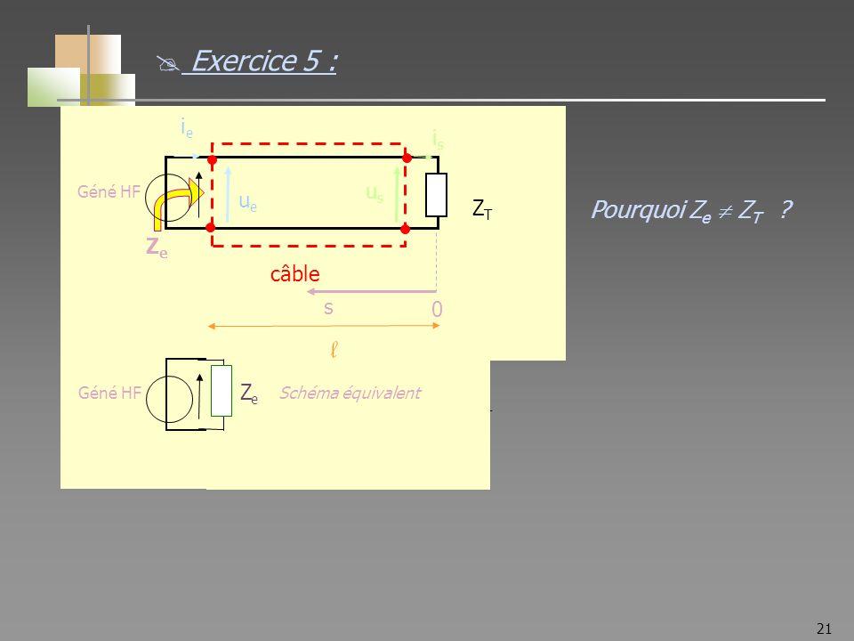21 ZTZT Géné HF ieie ZeZe ZeZe ZTZT câble ueue usus isis s 0 l Schéma équivalent Pourquoi Z e Z T ? Exercice 5 :