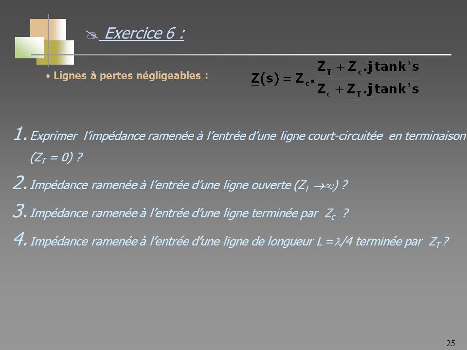 25 Lignes à pertes négligeables : 1. Exprimer limpédance ramenée à lentrée dune ligne court-circuitée en terminaison (Z T = 0) ? 2. Impédance ramenée