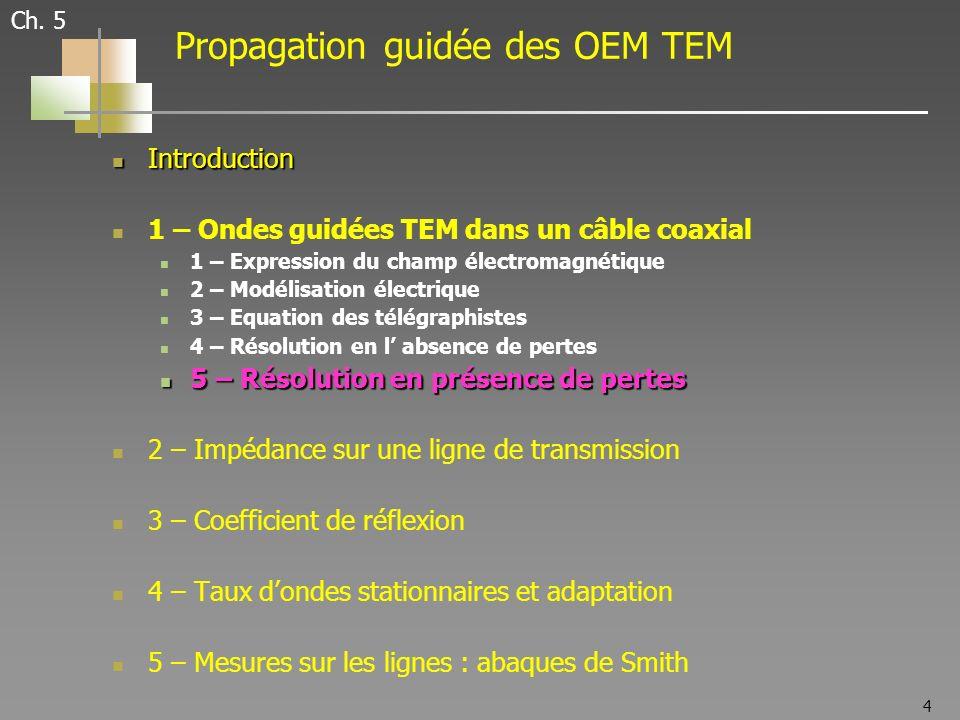4 Ch. 5 Propagation guidée des OEM TEM Introduction Introduction 1 – Ondes guidées TEM dans un câble coaxial 1 – Expression du champ électromagnétique