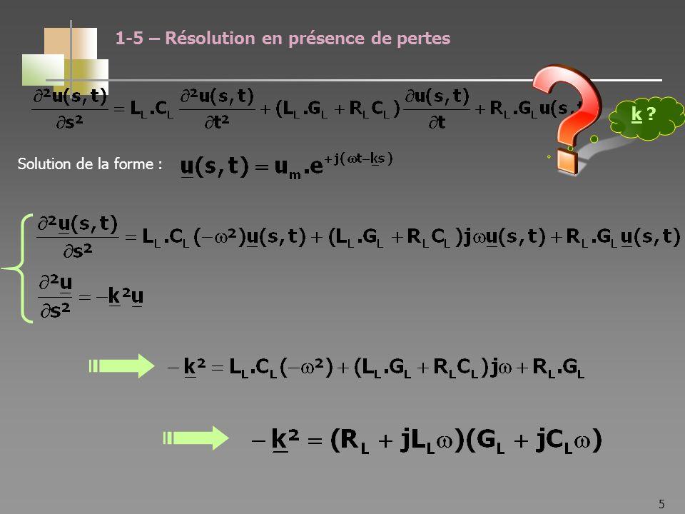 16 On pose : Impédance linéique série (conducteur) Admittance linéique parallèle (diélectrique) 2-1 – Impédance caractéristique Caractérise les parois conductrices Caractérise le diélectrique On a montré que :