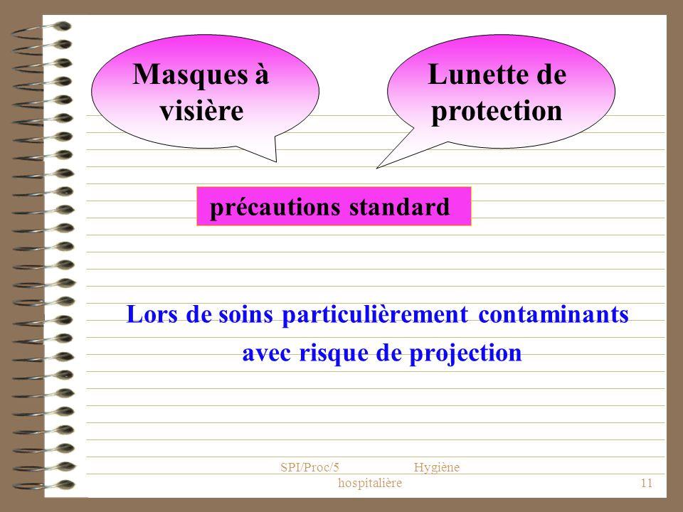 SPI/Proc/5 Hygiène hospitalière11 Lors de soins particulièrement contaminants avec risque de projection Masques à visière Lunette de protection précau