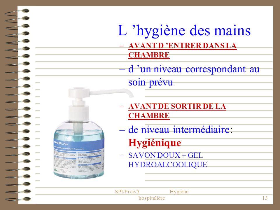 SPI/Proc/5 Hygiène hospitalière13 L hygiène des mains –AVANT D ENTRER DANS LA CHAMBRE –d un niveau correspondant au soin prévu –AVANT DE SORTIR DE LA