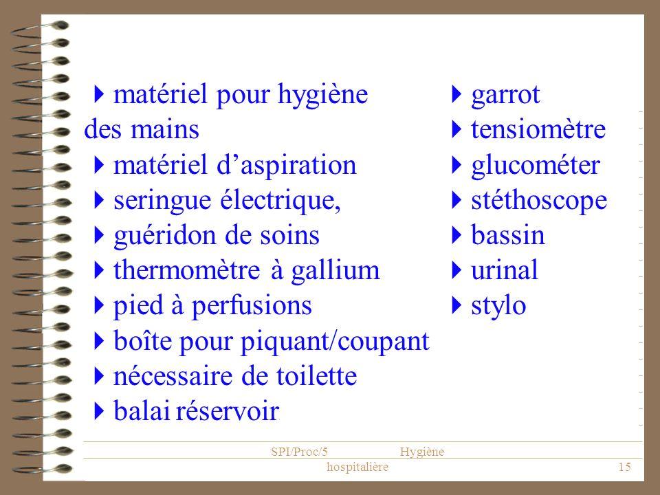 SPI/Proc/5 Hygiène hospitalière15 garrot tensiomètre glucométer stéthoscope bassin urinal stylo matériel pour hygiène des mains matériel daspiration s