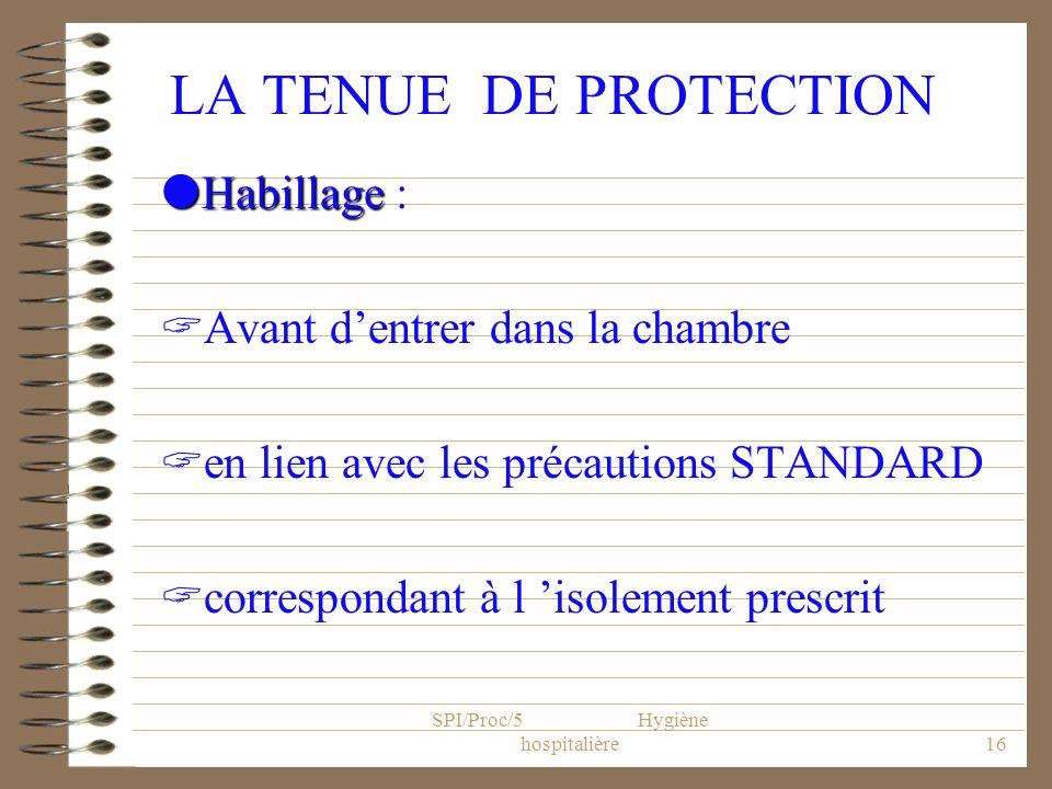 SPI/Proc/5 Hygiène hospitalière16 LA TENUE DE PROTECTION Habillage Habillage : Avant dentrer dans la chambre en lien avec les précautions STANDARD cor