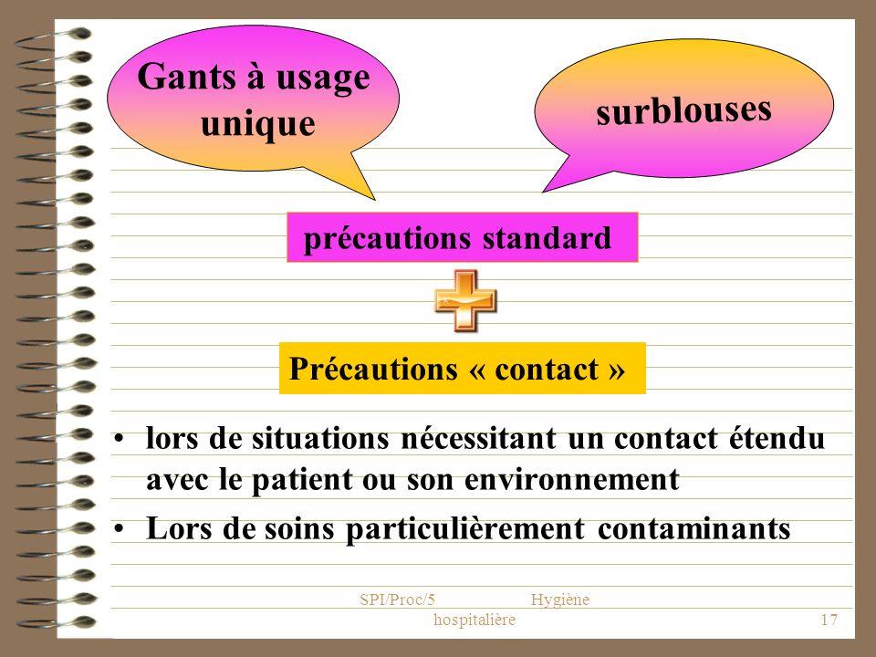 SPI/Proc/5 Hygiène hospitalière17 lors de situations nécessitant un contact étendu avec le patient ou son environnement Lors de soins particulièrement