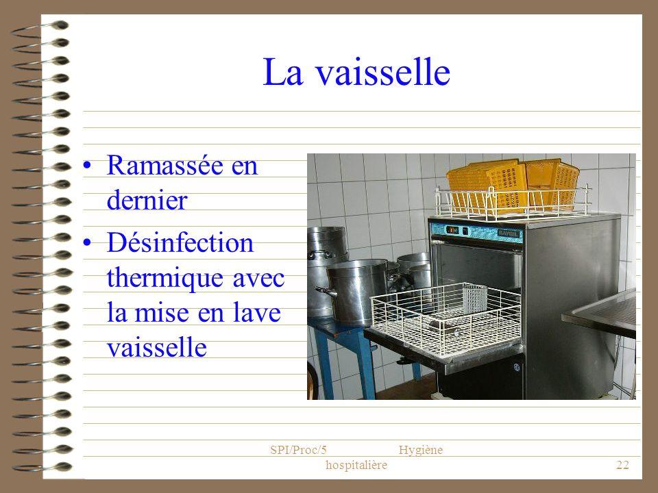 SPI/Proc/5 Hygiène hospitalière22 La vaisselle Ramassée en dernier Désinfection thermique avec la mise en lave vaisselle