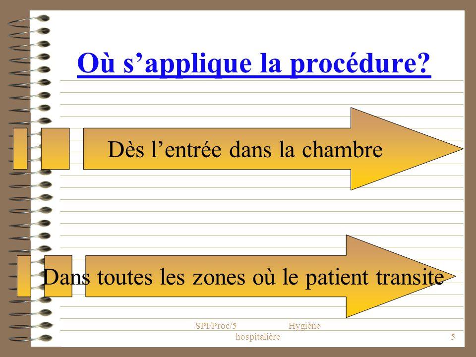 SPI/Proc/5 Hygiène hospitalière6 Principes généraux 2 niveaux de précautions –les précautions standard à appliquer quel que soit le statut infectieux du patient –les précautions particulières à appliquer en complément des précautions standard