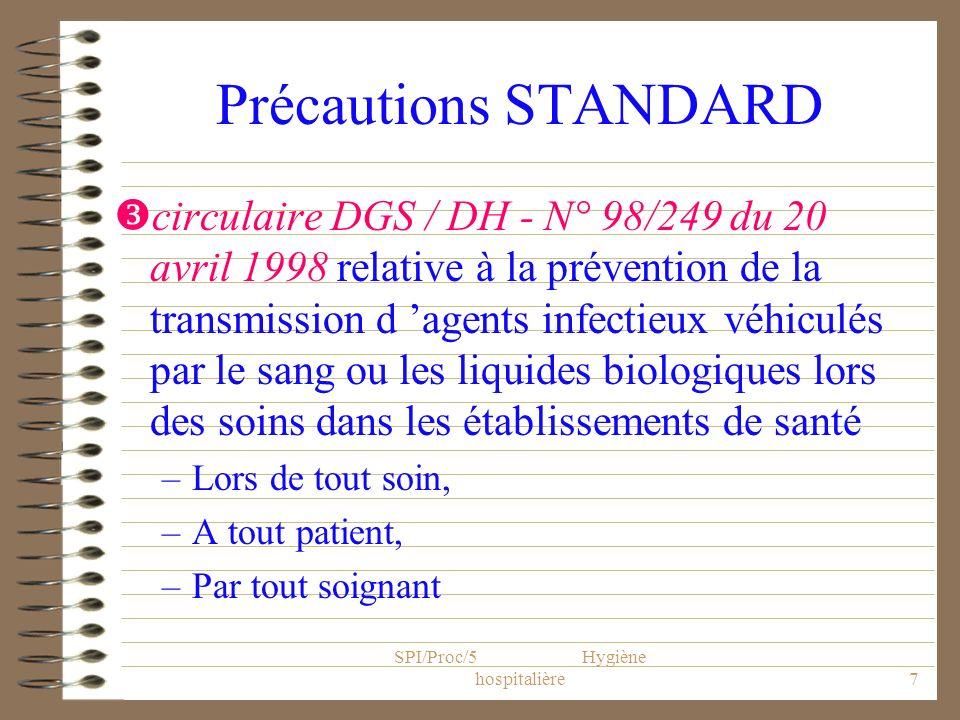SPI/Proc/5 Hygiène hospitalière7 Précautions STANDARD circulaire DGS / DH - N° 98/249 du 20 avril 1998 relative à la prévention de la transmission d a