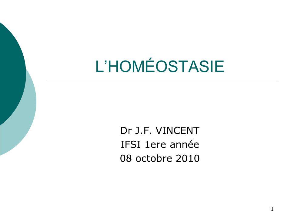 1 LHOMÉOSTASIE Dr J.F. VINCENT IFSI 1ere année 08 octobre 2010