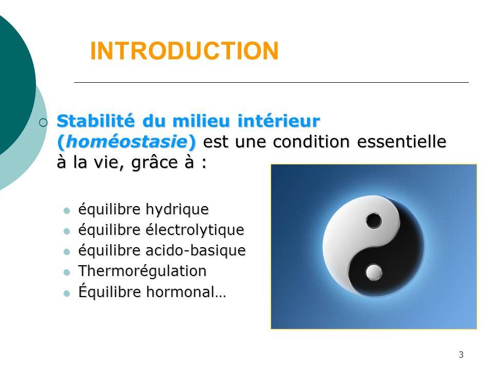 3 INTRODUCTION Stabilité du milieu intérieur (homéostasie) est une condition essentielle à la vie, grâce à : Stabilité du milieu intérieur (homéostasi