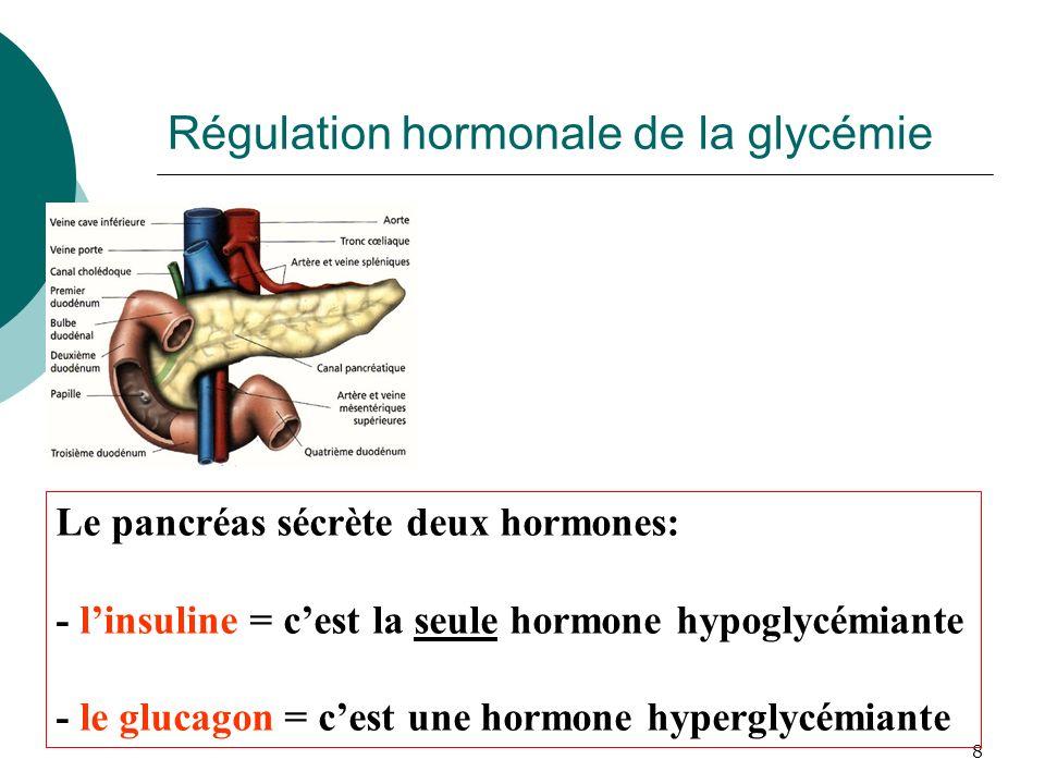 8 Le pancréas sécrète deux hormones: - linsuline = cest la seule hormone hypoglycémiante - le glucagon = cest une hormone hyperglycémiante Régulation