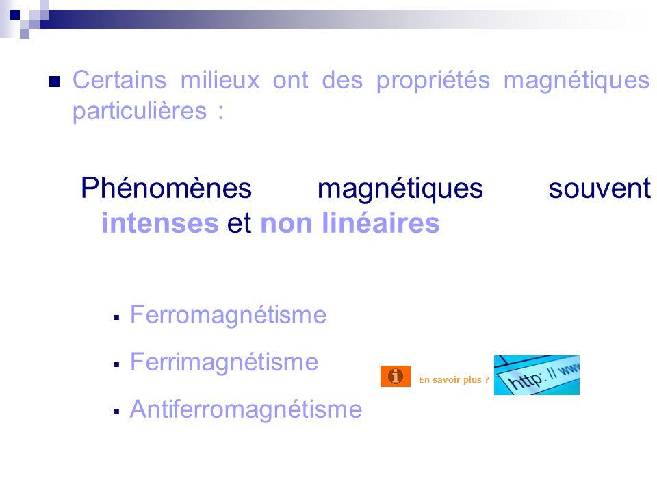 Certains milieux ont des propriétés magnétiques particulières : Phénomènes magnétiques souvent intenses et non linéaires Ferromagnétisme Ferrimagnétisme Antiferromagnétisme Introduction En savoir plus