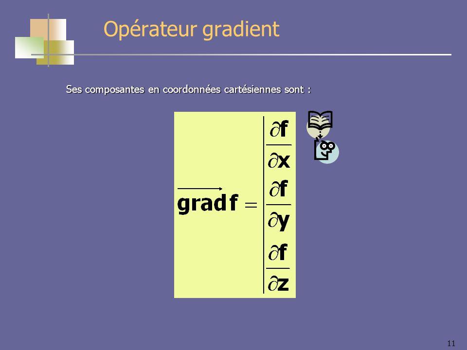 11 Ses composantes en coordonnées cartésiennes sont : Opérateur gradient