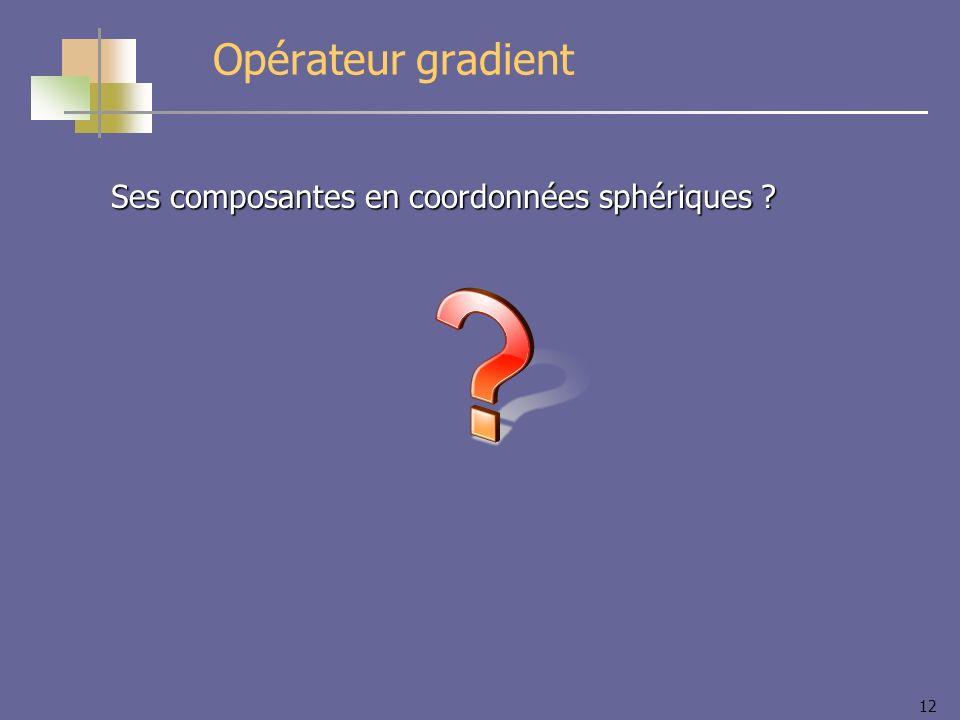 12 Opérateur gradient Ses composantes en coordonnées sphériques ?