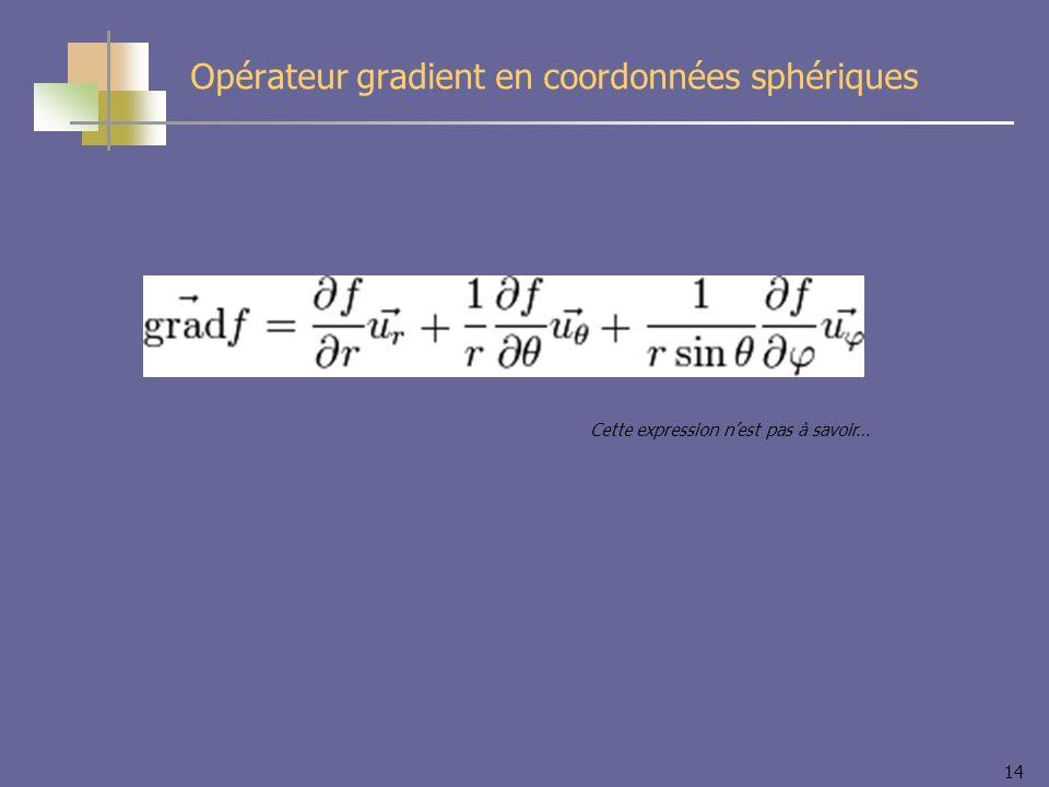14 Opérateur gradient en coordonnées sphériques Cette expression nest pas à savoir…