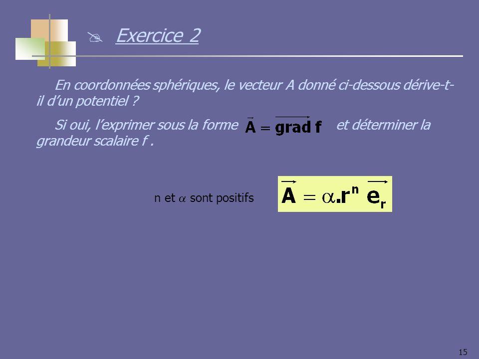 15 Exercice 2 En coordonnées sphériques, le vecteur A donné ci-dessous dérive-t- il dun potentiel ? Si oui, lexprimer sous la forme et déterminer la g