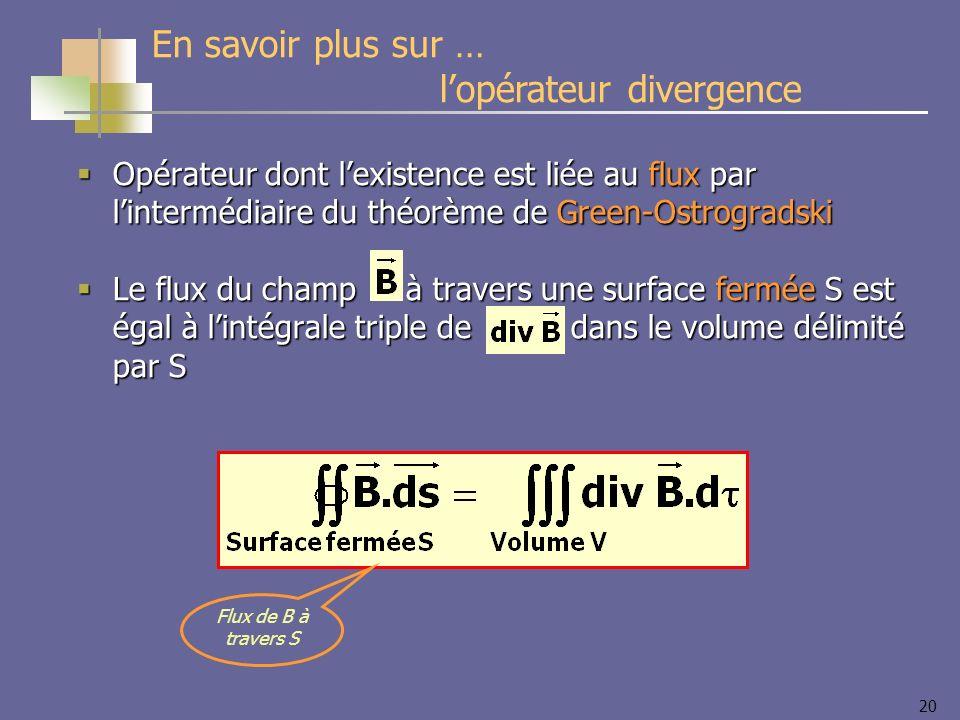 20 Opérateur dont lexistence est liée au flux par lintermédiaire du théorème de Green-Ostrogradski Opérateur dont lexistence est liée au flux par lint