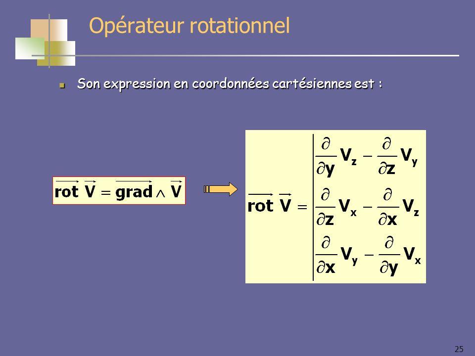 25 Opérateur rotationnel Son expression en coordonnées cartésiennes est : Son expression en coordonnées cartésiennes est :