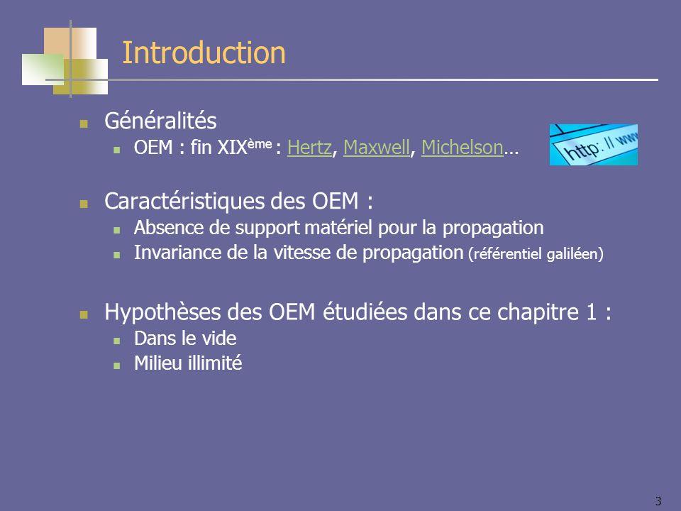 3 Introduction Généralités OEM : fin XIX ème : Hertz, Maxwell, Michelson…HertzMaxwellMichelson Caractéristiques des OEM : Absence de support matériel