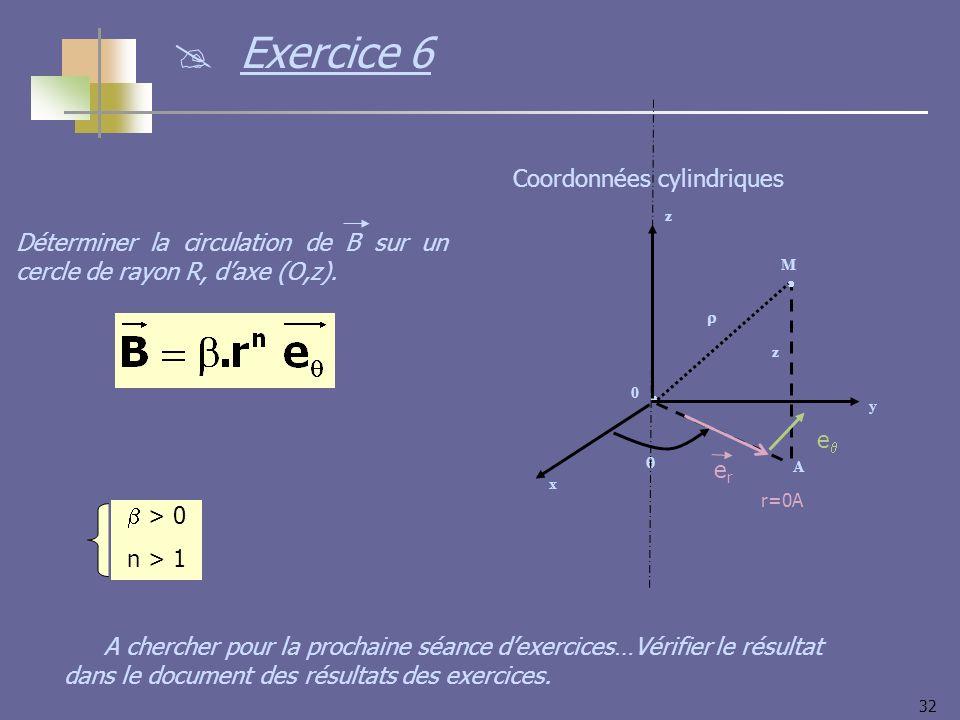 32 > 0 n > 1 Déterminer la circulation de B sur un cercle de rayon R, daxe (O,z). y x z 0 M z A Coordonnées cylindriques erer r=0A e Exercice 6 A cher