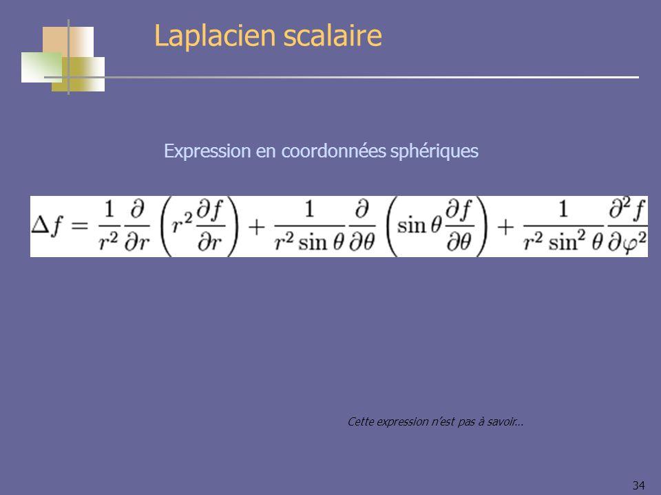 34 Expression en coordonnées sphériques Laplacien scalaire Cette expression nest pas à savoir…