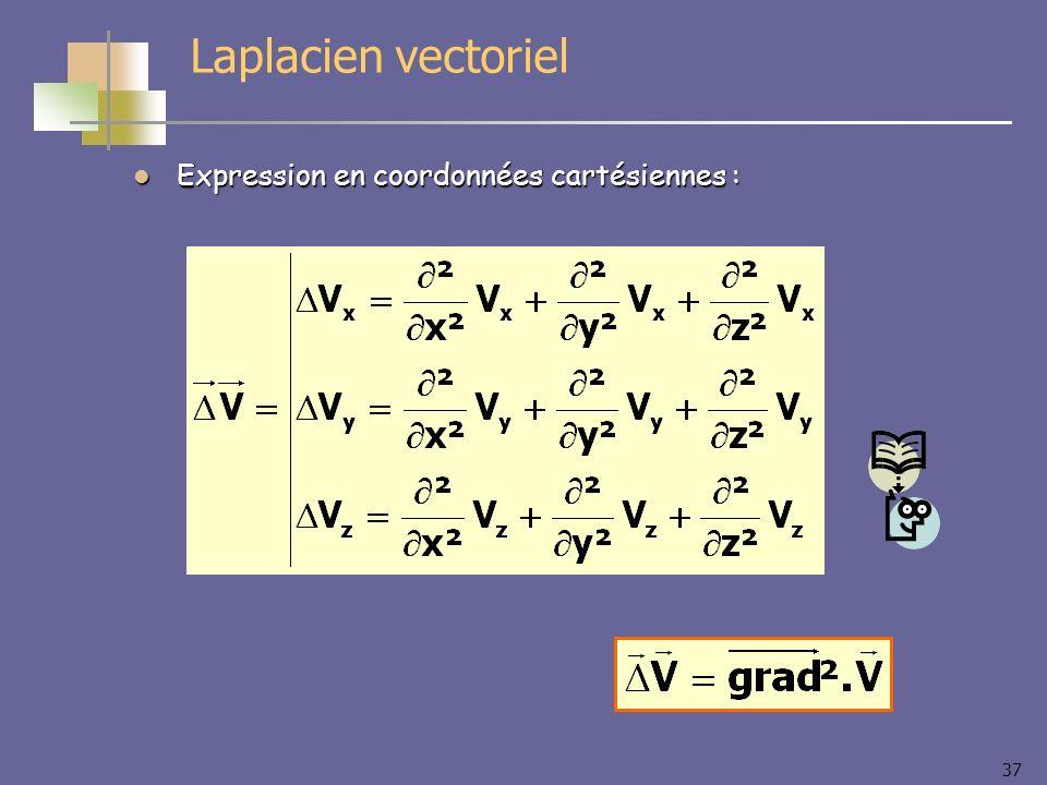 37 Laplacien vectoriel Expression en coordonnées cartésiennes : Expression en coordonnées cartésiennes :