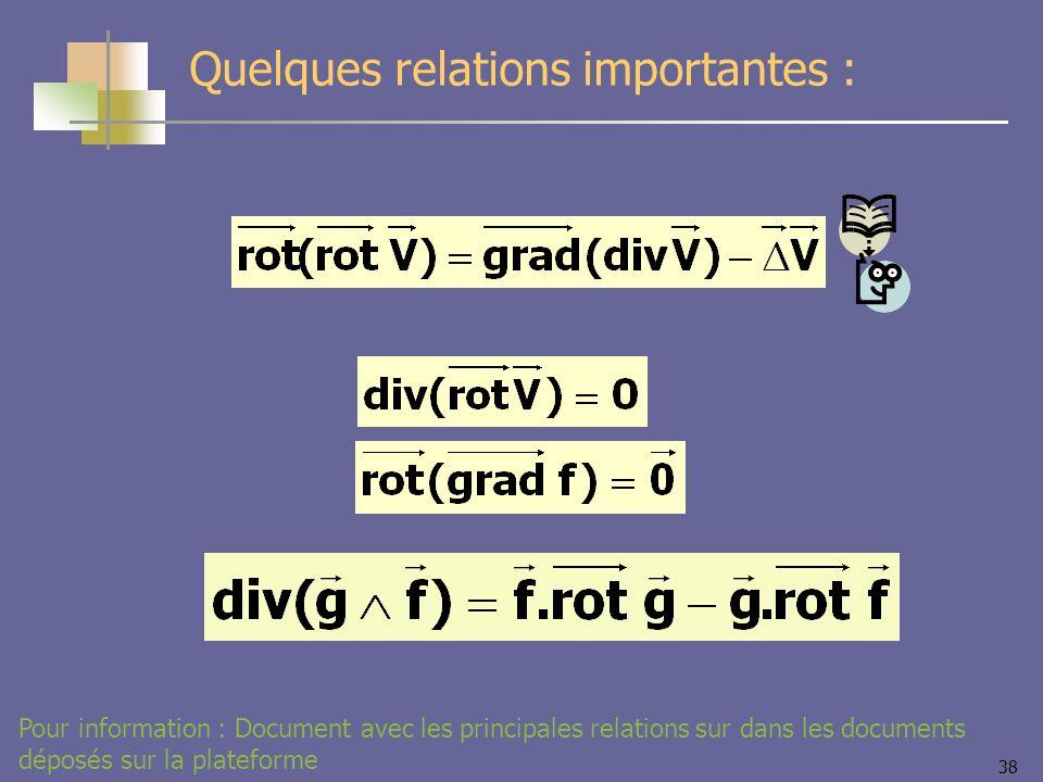 38 Quelques relations importantes : Pour information : Document avec les principales relations sur dans les documents déposés sur la plateforme