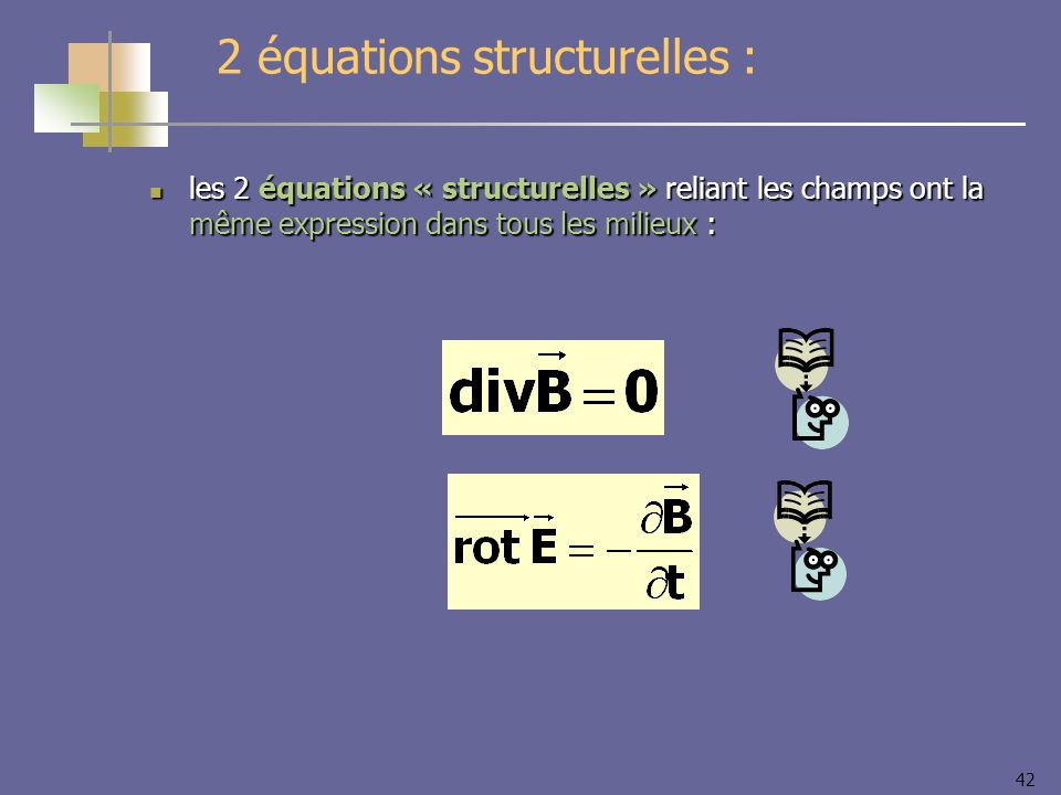 42 2 équations structurelles : les 2 équations « structurelles » reliant les champs ont la même expression dans tous les milieux : les 2 équations « s