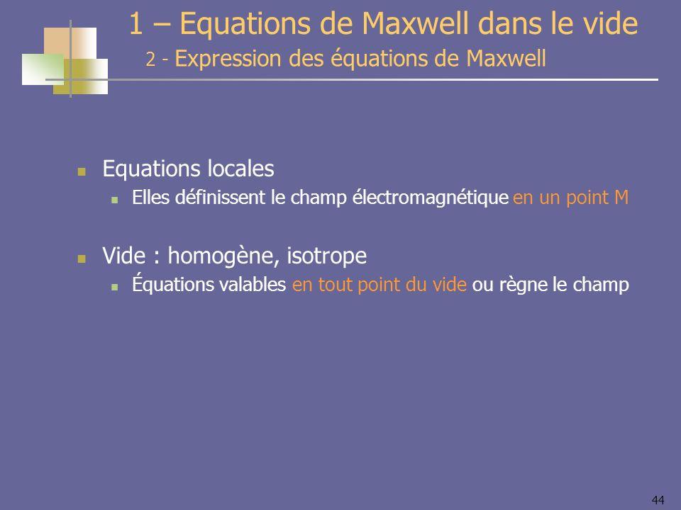 44 Equations locales Elles définissent le champ électromagnétique en un point M Vide : homogène, isotrope Équations valables en tout point du vide ou
