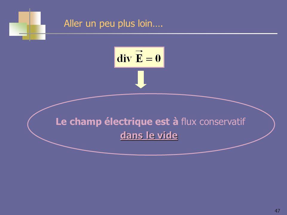 47 Le champ électrique est à flux conservatif dans le vide Aller un peu plus loin….
