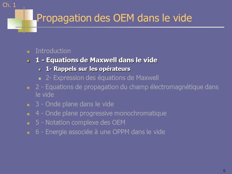 6 Introduction 1 - Equations de Maxwell dans le vide 1 - Equations de Maxwell dans le vide 1- Rappels sur les opérateurs 1- Rappels sur les opérateurs