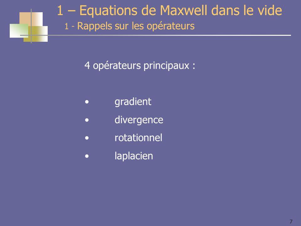 7 4 opérateurs principaux : gradient divergence rotationnel laplacien 1 - Rappels sur les opérateurs 1 – Equations de Maxwell dans le vide