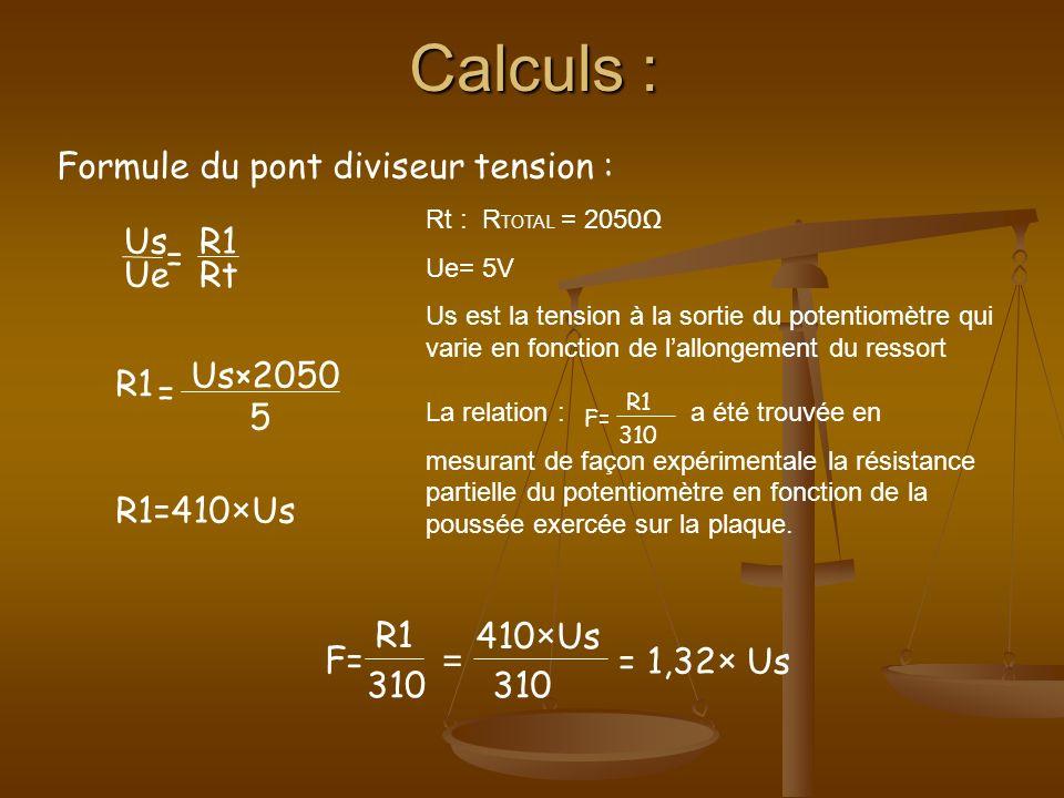 Calculs : [ (Us×1,32)×2 ] 1,2×0,2025 V= Soit V la vitesse au décollage de la nacelle : Soit F x, la force de traînée qui sexprime en Newton : xFx=xFx= 1 2 ×ρ×S×C x ×V² ρ= masse volumique de lair S= la surface de référence (la plaque) V= vitesse du système C x =1 pour une plaque de plastique plane Formule finale :