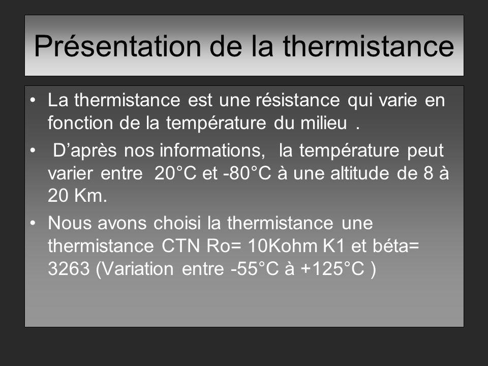 Présentation de la thermistance La thermistance est une résistance qui varie en fonction de la température du milieu. Daprès nos informations, la temp