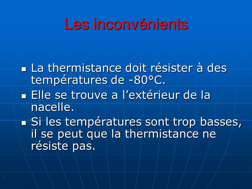 Les inconvénients La thermistance doit résister à des températures de -80°C. La thermistance doit résister à des températures de -80°C. Elle se trouve