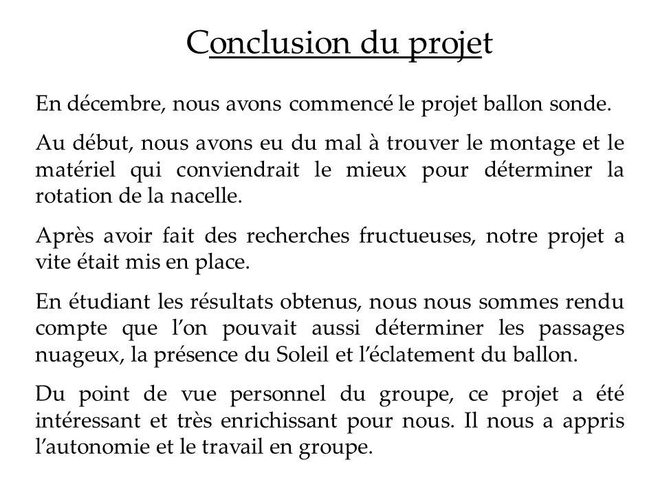 Conclusion du projet En décembre, nous avons commencé le projet ballon sonde. Au début, nous avons eu du mal à trouver le montage et le matériel qui c