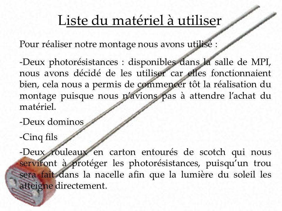 Liste du matériel à utiliser Pour réaliser notre montage nous avons utilisé : -Deux photorésistances : disponibles dans la salle de MPI, nous avons dé