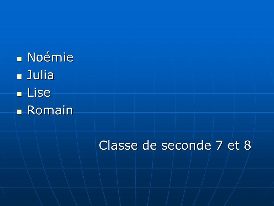 Noémie Noémie Julia Julia Lise Lise Romain Romain Classe de seconde 7 et 8