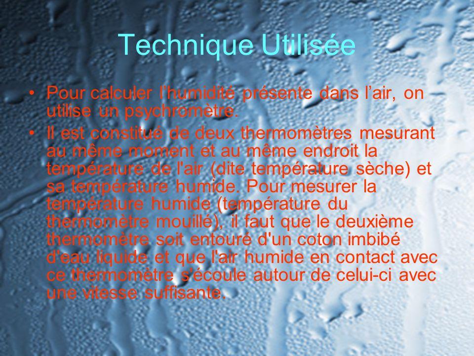 Technique Utilisée Pour calculer lhumidité présente dans lair, on utilise un psychromètre. Il est constitué de deux thermomètres mesurant au même mome