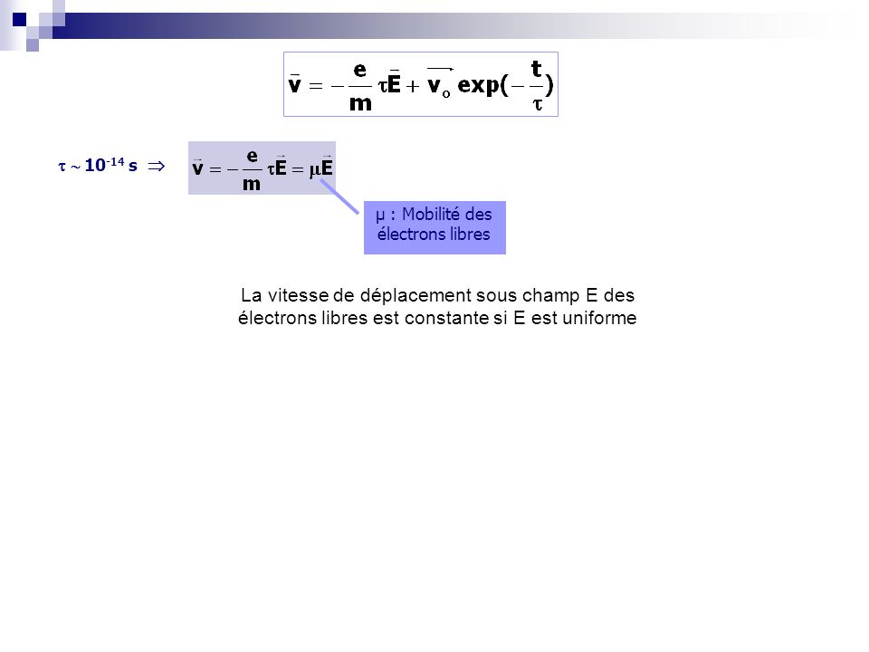 10 -14 s µ : Mobilité des électrons libres La vitesse de déplacement sous champ E des électrons libres est constante si E est uniforme