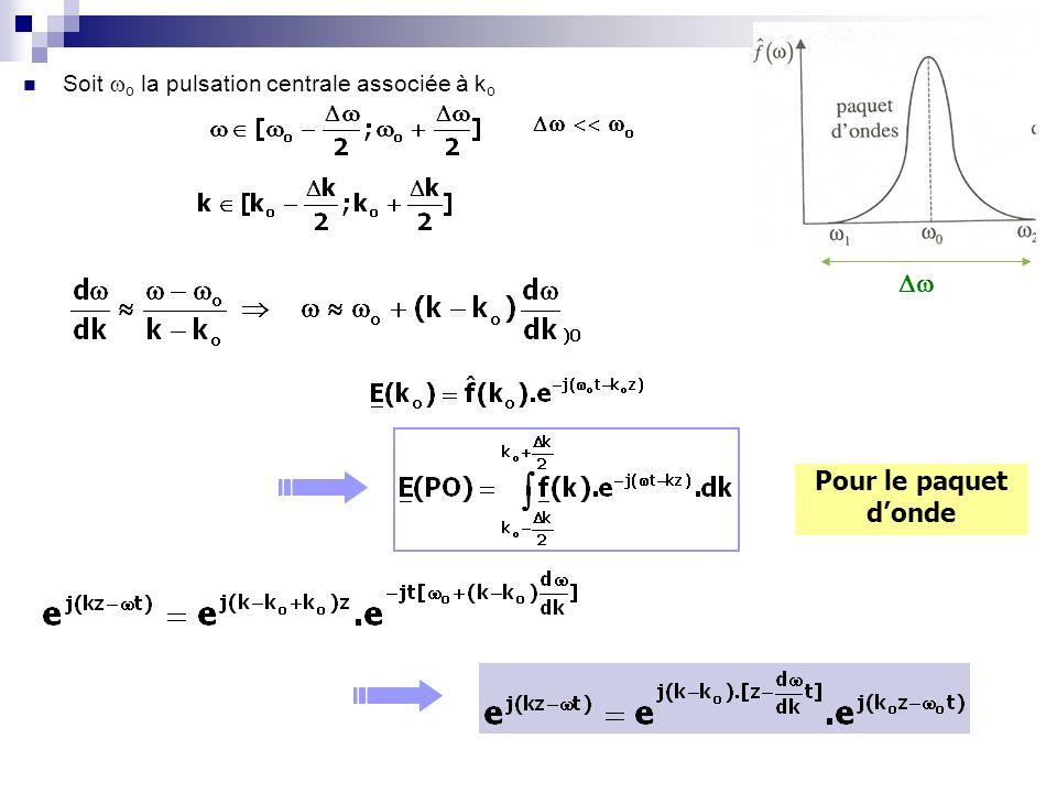 Soit o la pulsation centrale associée à k o Pour le paquet donde