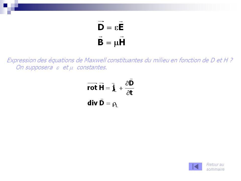 Expression des équations de Maxwell constituantes du milieu en fonction de D et H .