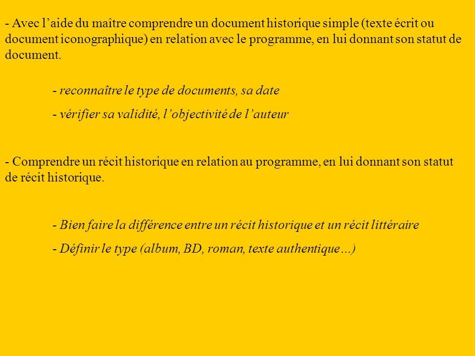 - Avec laide du maître comprendre un document historique simple (texte écrit ou document iconographique) en relation avec le programme, en lui donnant