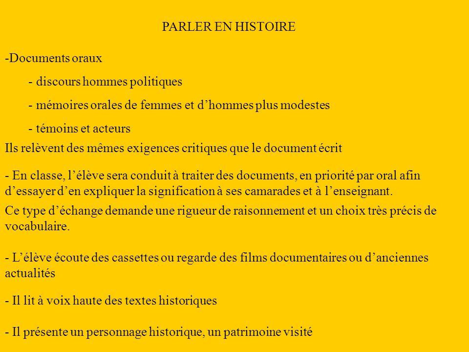 PARLER EN HISTOIRE -Documents oraux - discours hommes politiques - mémoires orales de femmes et dhommes plus modestes - témoins et acteurs Ils relèven